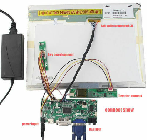 DVI AUDIO LCD Controller Board Driver Kit Para B154EW02 V2 1280*800 VGA HDMI