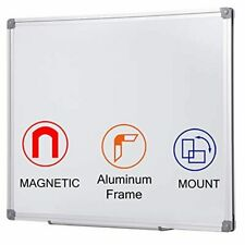 Magnetic White Board Small Size 24 X 18 Inch Silver Aluminum Frame Dry Erase