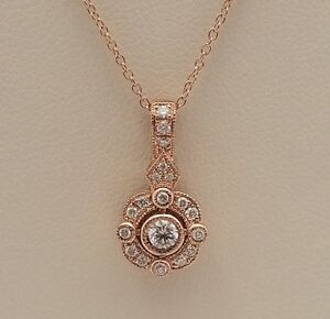 New-Authentic-LeVian-WJCM-6-14kt-Rose-Gold-Diamond-Necklace