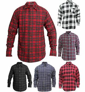 Mens-Plaid-Flannel-Lumberjack-Tartan-Check-Shirt-Brushed-Cotton-Casual-Top-S-2XL