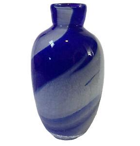 Cobalt-amp-Light-Blue-Crackle-Cased-Hand-Blown-Art-Glass-Vase-Signed-Dated-1998-NY