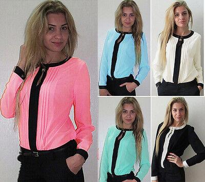New Sexy Fashion Women Loose Chiffon Tops Long Sleeve Shirt Casual Blouse