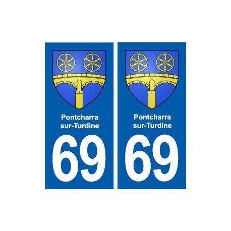 69 Pontcharra-sur-Turdine blason autocollant plaque stickers ville droits