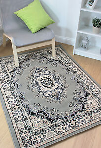 Oriental-Traditional-Classic-Persian-Design-Grey-Silver-Rug-in-7-sizes-Carpet