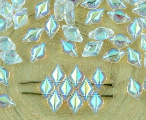 60pcs Matubo GemDuo Rhombus Diamond Two 2 Hole Czech Glass Beads Gem Duo 8mm ...