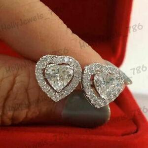 Fine Earrings 2.00 Tcw Heart Cut Diamond Halo Stud Earrings For Women's 14k White Gold Over
