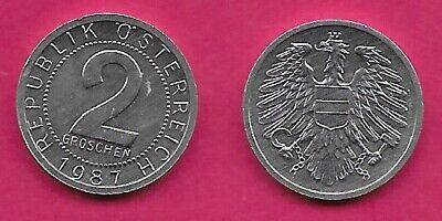 AUSTRIA 2 GROSCHEN 1987 UNC IMPERIAL EAGLE WITH AUSTRIAN SHIELD ON BREAST,HOLDIN