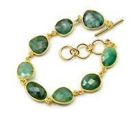 African Green Emerald Bracelet Large Bezel Faceted 7 Inch Adjustable 14k Gold F