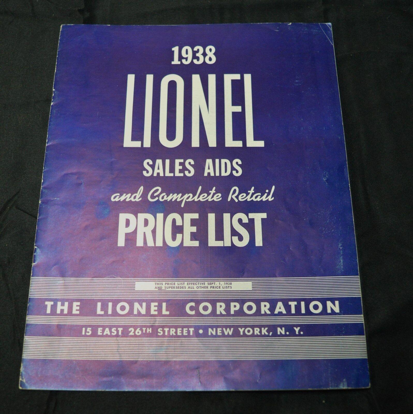 1938 ayuda para las ventas de Lionel y lista completa de precio minorista-biancao con Letras-Muy Buen Estado