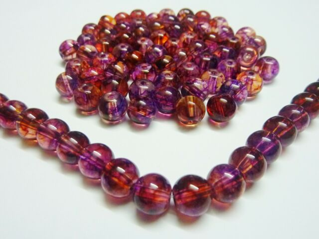 100 pce Maroon Red Baking Painted Round Glass Beads 8mm Jewellery Making Craft