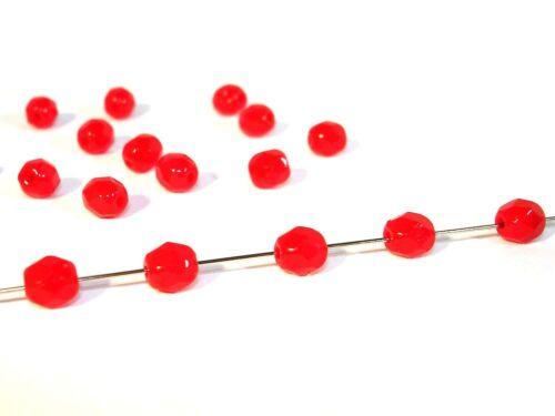 rouge opaque 100 pcs #gg73//1 À facettes rodé perles 4mm
