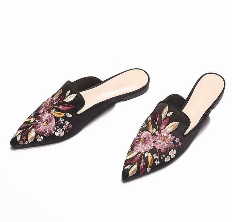 nuovo Summer Wouomo Pointed Toe Florals Mules Slippers Casual Flats Slip On sautope