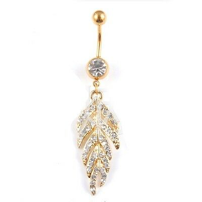 Crystal Rhinestone Leaves Belly Button Ring Gold Plated Body Piercing Navel Ring