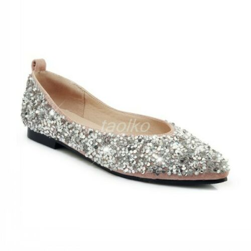 Women Slip On Flats Sequins Pointy Toe Pumps OL Loafers Shoes Plus Size Party sz
