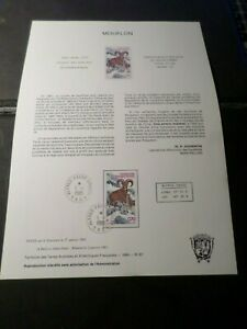 TAAF-DOCUMENT-NOTICE-FDC-1985-timbre-AERIEN-86-MOUFLON-ANIMAUX
