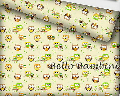 """New 100% Cotton Printed Owls Fabric Material - by the METRE -wide 160 cm (64"""")"""