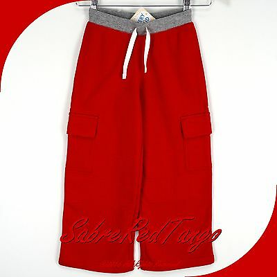 NWT HANNA ANDERSSON DOUBLE KNEE CARGO SWEATS PANTS APPLE RED 100 4T 4