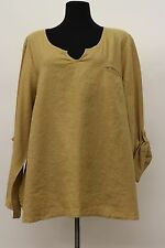 FLAX BOLD 2015 LINEN SPECIAL TEE ROLL TAB SHIRT BLOUSE BAMBOO PLUS SIZE 3G 3X