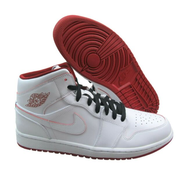 dcb36e77f8a2 Air Jordan 1 Mid Mens Size 11 White Gym Red Basketball Shoes 554724 103 New