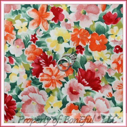BonEful FABRIC FQ Cotton Quilt Green Watercolor Spring Flower Garden Orange Pink