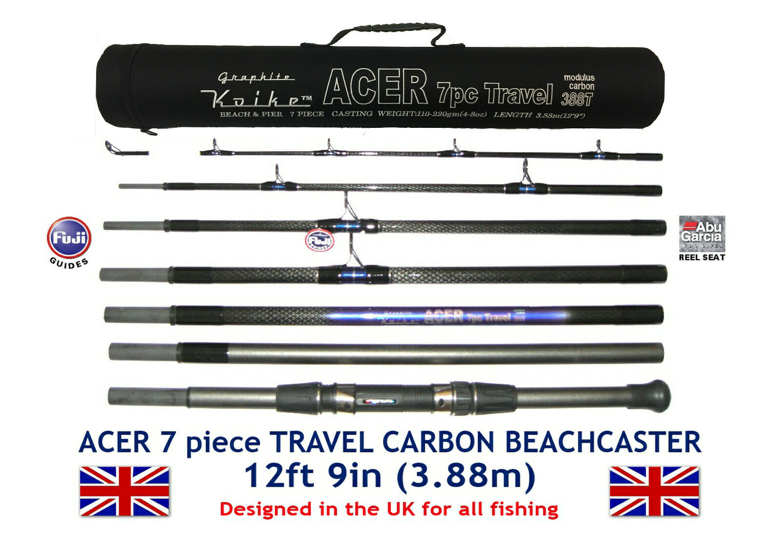 7pc ACER CARBON TRAVEL ROD 12ft 9in with Fuji Guides & ABU Movable Reel Seat