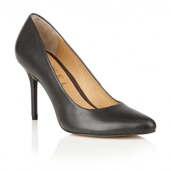 Ravel en Cuir Noir Bout Pointu Cour Travail Bureau Robe Soirée Chaussures Taille UK 6