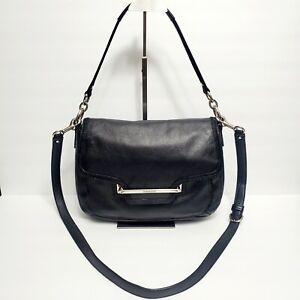 390-RARE-COACH-Taylor-Medium-Black-Leather-Flap-Crossbody-Handbag-F28626