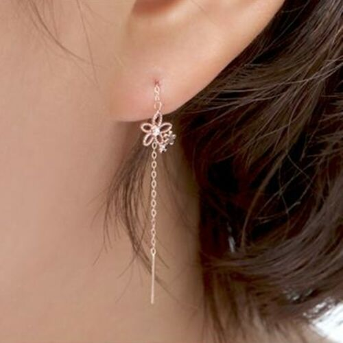 14K Solid Rose Gold Daisy Long Threader Drop Dangle a Pair of Earrings TPD