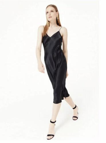 Cami NYC Midi Raven Black Silk Slip Dress XS