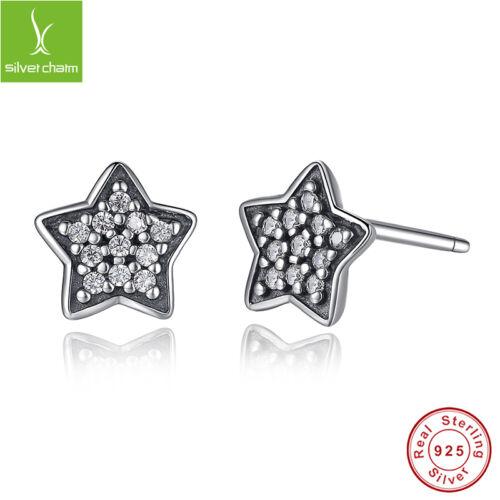 Authentique Argent Sterling 925 étoile à cinq branches Clous d/'oreilles avec fine Clear Zircone Cubique