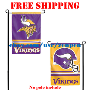 Minnesota-Vikings-Logo-Garden-Outdoor-Flag-Double-Sides-12x18-034-NFL-2019-Fan-NEW