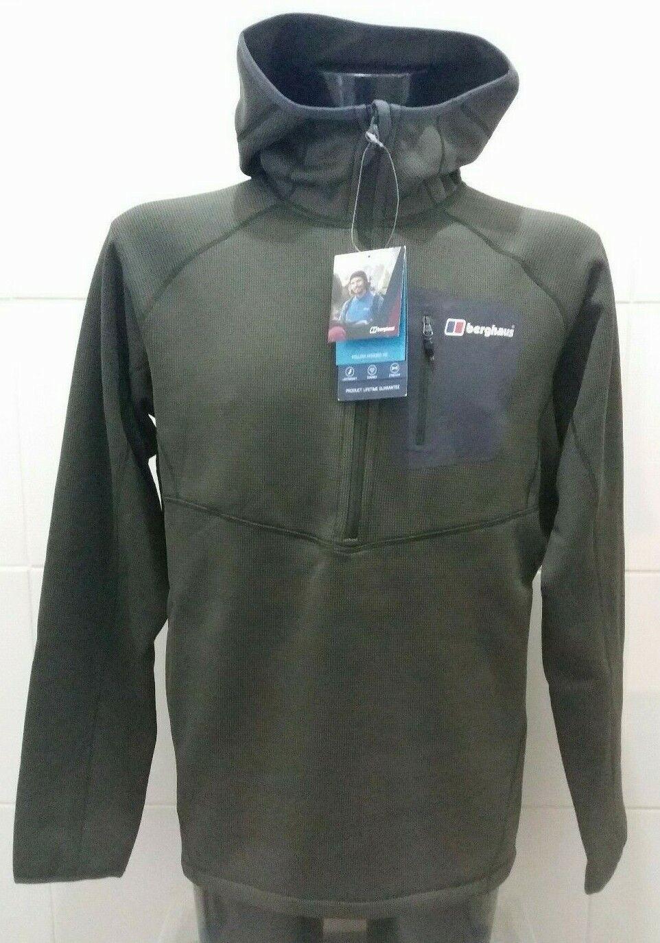 Nuevo Berghaus folliax con capucha Fleece Half Zip XL verde Oscuro