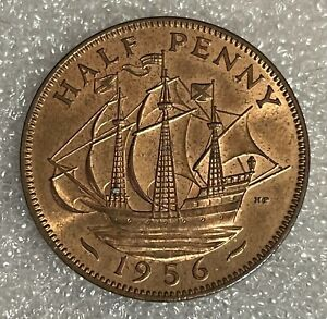 Stunning Grade - 1956 GB Half Penny Halfpenny 1/2p - Elizabeth II  #124