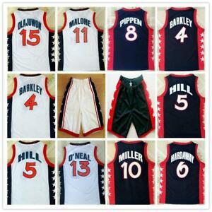 1996-USA-Team-Hakeem-Olajuwon-O-Neal-Hardaway-Charles-Barkley-Pippen-Jerseys