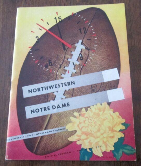 NOTRE DAME VS NORTHWESTERN FOOTBALL PROGRAM GAME PLAYED ON ...