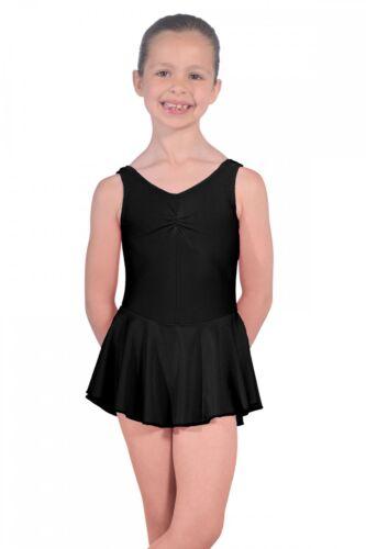Roch Valley Sleeveless ISTD Junior Leotard with Skirt Nylon Lycra Black Dance