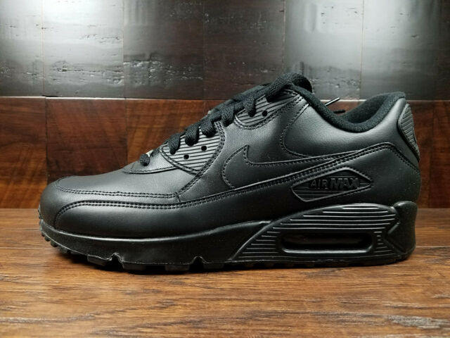 new style 53e64 b346f Nike Air Max 90 Leather Mens Lifestyle Casual SNEAKERS All Black 7