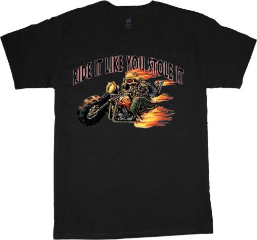 Ride it like you stole it t-shirt funny biker design t-shirt for men