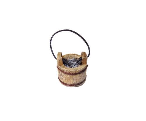 Dollhouse Sir Thomas Thumb Rustic Wood Berry Bucket Pail w Blueberries Miniature
