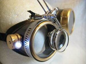 Pro Steampunk Safety Goggles Copper Brass Magnifying Lab LED Glasses 7.5x 2 15x