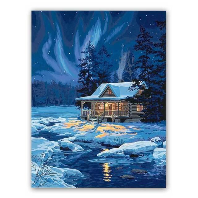 MALEN NACH ZAHLEN  ~ Moonlit Cabin ~ 91223 Dimensions NEU//OVP