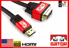 HDMI to DVI-D 24+1 Cable Male Gold HDTV PC HD LCD LED 1080P Display Adaptor 6FT