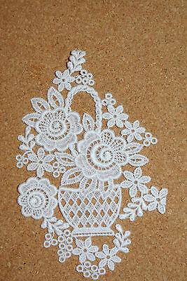 Lace motif - Flower Basket - applique/sew on trim/craft/card making