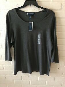 New-Karen-Scott-Woman-039-s-Scoop-Neck-Knit-Tee-Top-Charcoal-Plus-Sizes-0X-amp-1X-T19