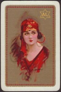 Playing-Cards-Single-Card-Old-Vintage-BARRIBAL-Art-Painting-GIRL-Advertising