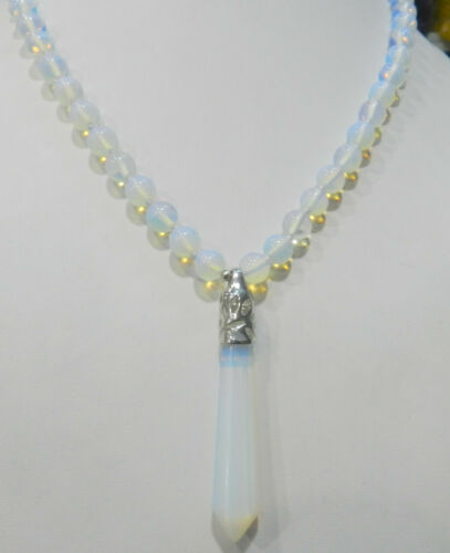 "Hexagonal Gemstone Healing Chakra Reiki opal Opalite Pierre Collier Pendentif 18/"""