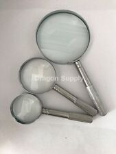 New 3pc High Power Magnifying Glass Set - 7X 15X 16X w /Chrome Plated & Handle