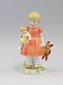 9942776-Porzellan-Figur-Maedchen-mit-Puppe-und-Teddy-Wagner-amp-Apel-H18cm