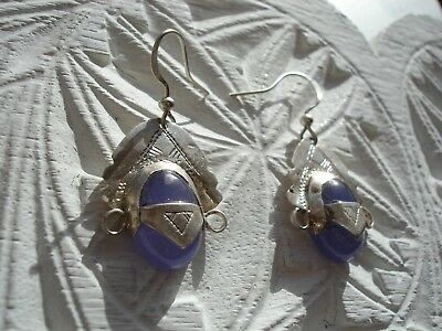 Blue agate small Niger Tuareg silver (tested) earrings + silver hooks