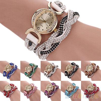Women's Chic Stylish Two Tone Rhinestone Wrap Faux Suede Bracelet Wrist Watch